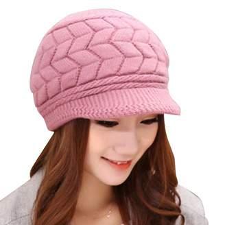GLOGLOW Knitted Peak Cap, Women Outdoor Warm Knitted Hat Cap