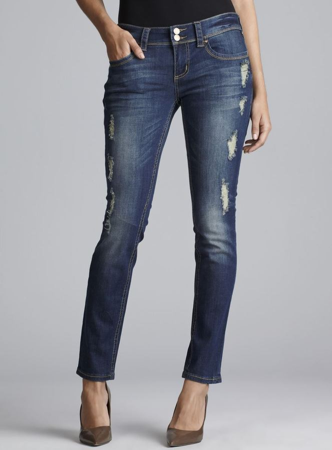 7 For All Mankind Seven7 Double Button Distressed Skinny Jeans