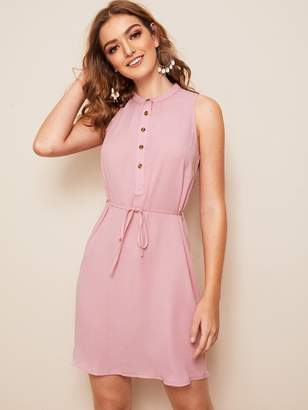 Shein Solid Buttoned Half Placket Belted Dress