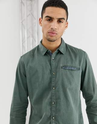 fbdb3f0a038 Esprit slim fit structured washed denim shirt in olive