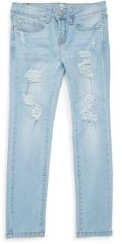 7 For All Mankind Girl's Ripped Skinny Jeans