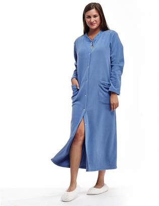La Cera Plus Size Snap Front Fleece Robe - Plus