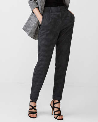 Express High Waisted Pinstriped Flannel Ankle Pant