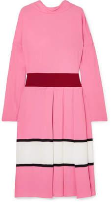 Marni - Pleated Color-block Crepe Midi Dress - Pink