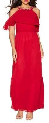 Quiz Chiffon Cold Shoulder Maxi Dress