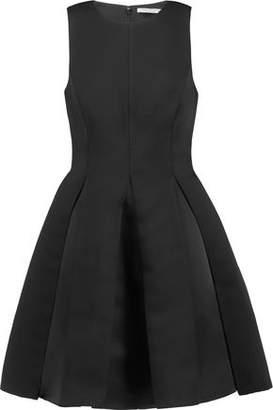 Halston Pleated Satin-Twill Mini Dress