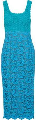 Moschino Two-Tone Crochet-Knit And Corded Lace Midi Dress