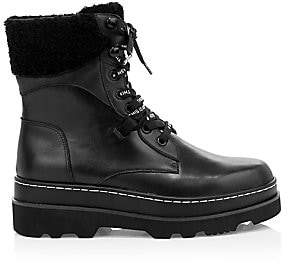 Ash Women's Siberia Faux Fur-Lined Leather Combat Boots