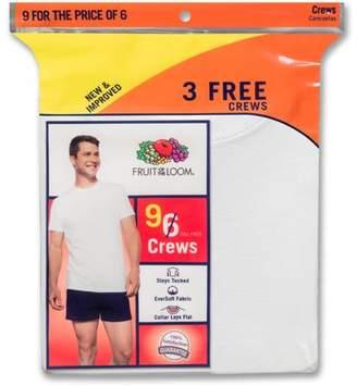 Fruit of the Loom Men's White Crew Undershirts, 6+3 Bonus Pack