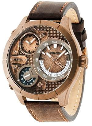Police Men's Quartz Watch with Rose Gold Dial Analogue Display and Brown Leather Strap 14638XSQR/32