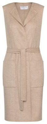 Hugo Boss Katsyna Wool Open-Front Belted Long Vest 4 Beige $745 thestylecure.com
