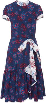 Carolina Herrera Ruffled Cotton Blend Faux Wrap Dress