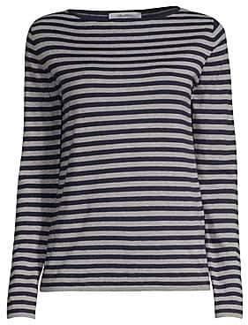 Max Mara Women's Nardo Long-Sleeve Stripe Silk & Cashmere Knit Top