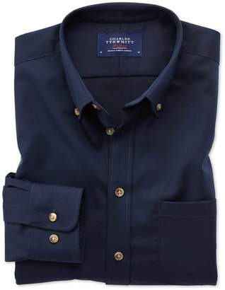 Charles Tyrwhitt Extra Slim Fit Button-Down Non-Iron Twill Navy Blue Cotton Casual Shirt Single Cuff Size Small