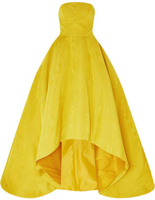 Oscar de la Renta Strapless Asymmetric Cotton-blend Moire Gown - Yellow