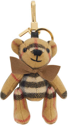 Burberry Beige Cashmere Vintage Check Thomas Bear Keychain