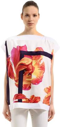 Salvatore Ferragamo Tulip Printed Twill & Jersey T-Shirt
