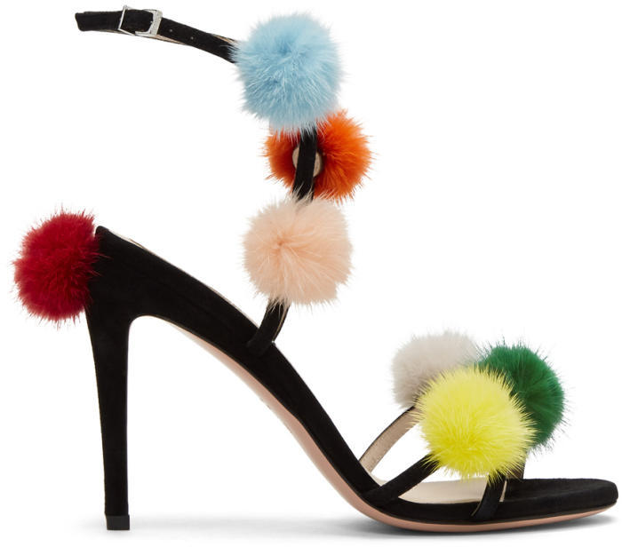 Fendi Black Pom Pom Naked Sandals