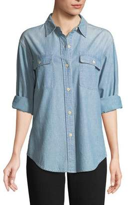Vince Button-Front Cotton Chambray Shirt