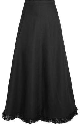 Barbara Casasola Flared Frayed Linen-Blend Midi Skirt
