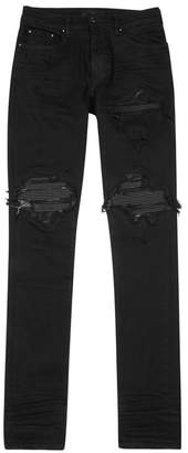 Amiri Black Leather Patch Skinny Jeans