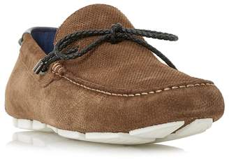 Dune Tan 'Bluewater' Embossed Plait Lace Driver Loafers
