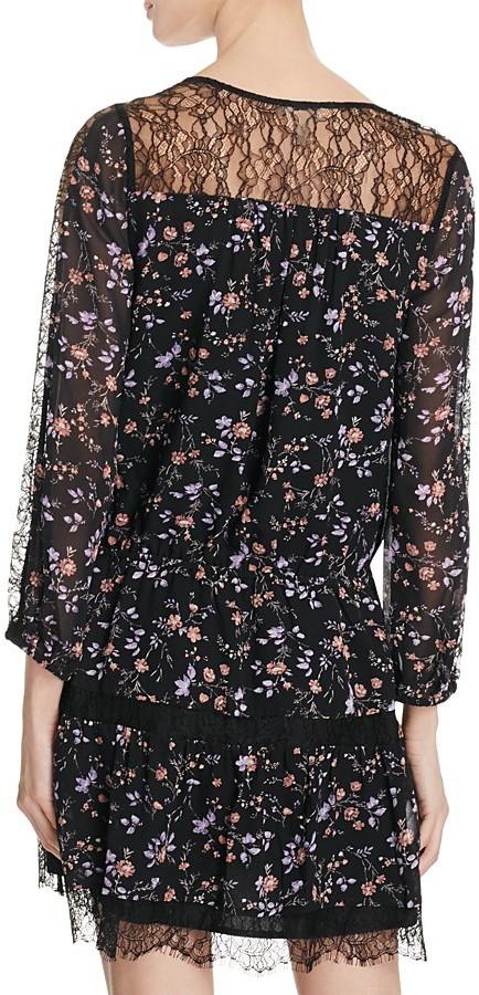 Joie Auggie Lace Trimmed Floral Silk Dress 2