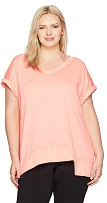 Calvin Klein Women's Plus Size Deep V Neck Short Sleeve Asymmetric Hem Pullover