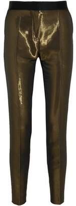 Pallas Satin-Trimmed Metallic Crepe Skinny Pants