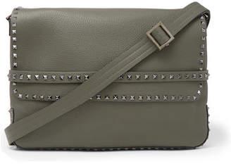 Valentino Garavani Rockstud Full-Grain Leather Messenger Bag