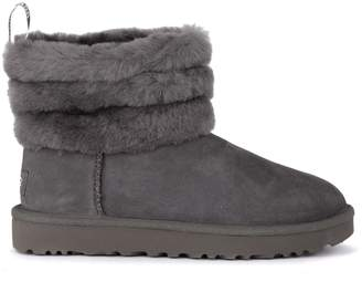 at Italist · UGG Fluff Mini Grey Suede Leather Ankle Boots. 30a7abb6d1e