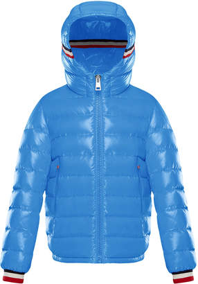 Moncler Albericlaque Quilted Hooded Puffer Jacket w/ Flag Trim, Size 4-6