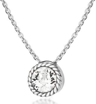 Swarovski Tuscany Silver Women's Sterling Silver White Crystal April Birthstone Necklace of Length 46 cm/18 Inch
