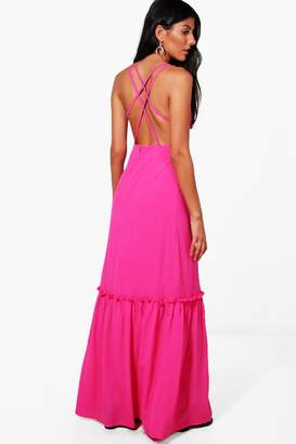 boohoo Ella Crepe Open Strappy Back Maxi Dress