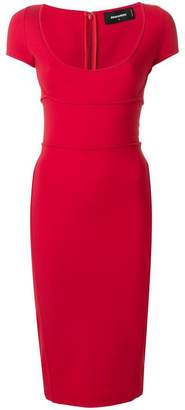DSQUARED2 cap sleeved fitted dress