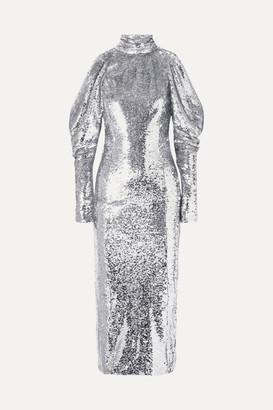 16ARLINGTON - Cold-shoulder Sequined Tulle Turtleneck Midi Dress - Silver