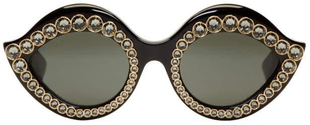 Gucci Black Crystal Cat-Eye Sunglasses