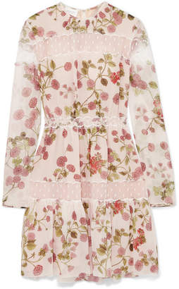 Giambattista Valli Point D'esprit Tulle-paneled Floral-print Silk-georgette Mini Dress - Blush