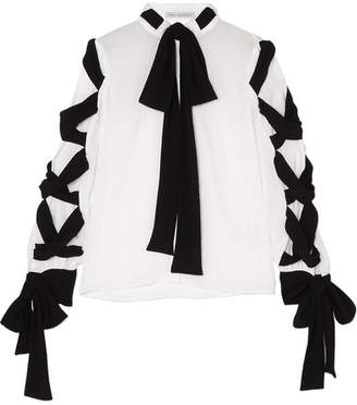 Emilia Wickstead Fritz Tie-detailed Crinkled-crepe Blouse - White
