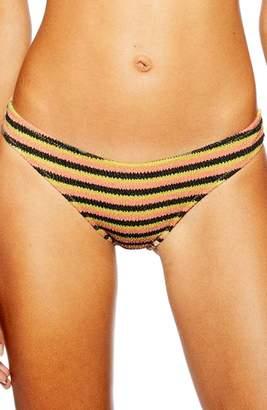 Topshop Textured Stripe Bikini Bottoms