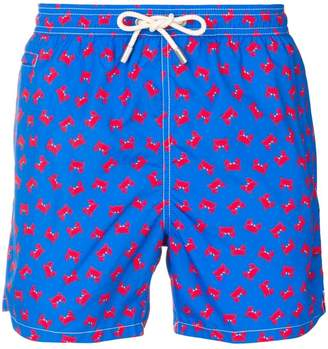 crab pattern swimming shorts