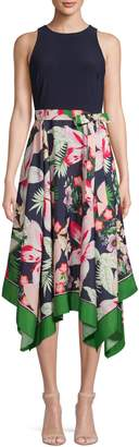 Vince Camuto Floral Handkerchief Fit--Flare Dress