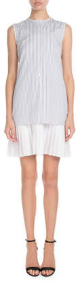 Victoria Victoria Beckham Sleeveless Button-Front Striped Shirtdress w/ Pleated Hem
