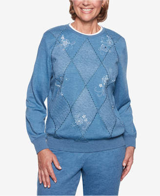 Alfred Dunner Petite At Ease Diamond Floral-Embroidered Sweatshirt