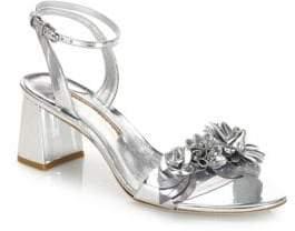 Sophia Webster Lilico Floral-Embellished Metallic Leather Block Heel Sandals