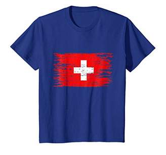 Swiss Flag Distressed T-Shirt Switzerland Flag Tee