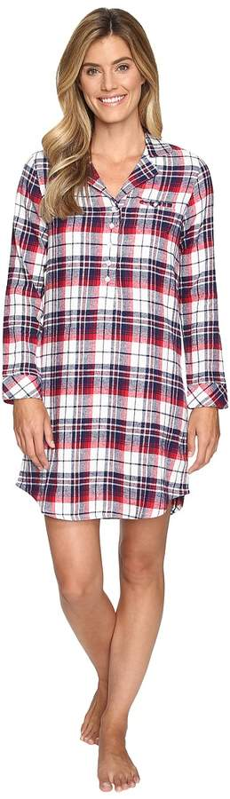 Flannel Plaid Sleepshirt Women's Pajama