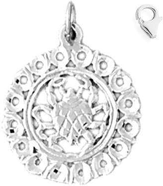JewelsObsession 14K White Gold 21mm Zodiac - Cancer Charm w/ Lobster Clasp
