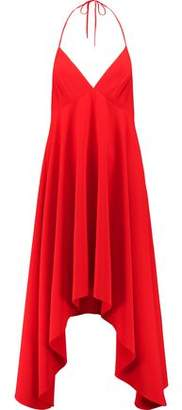 Halston Halterneck Asymmetric Crepe Midi Dress