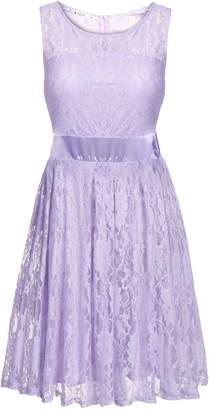 ANGVNS Cute Round Neck Sleeveless Flare Elegant Lace Party Dress